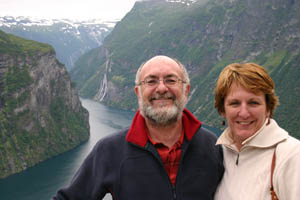 Bernadette and Michael at Geirangerfjord in Norway in July 2005