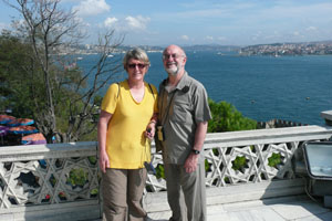Bernadette and Michael at Topkapi Palace, overlooking the Bosphorus in Istanbul in October 2008